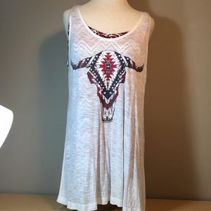 Charming Charlie2fer tunic tank graphic steer head